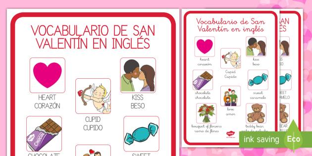 Vocabulario de San Valentín en inglés Póster DIN A4 - vocabulario, inglés, amor, san valentín,Spanish