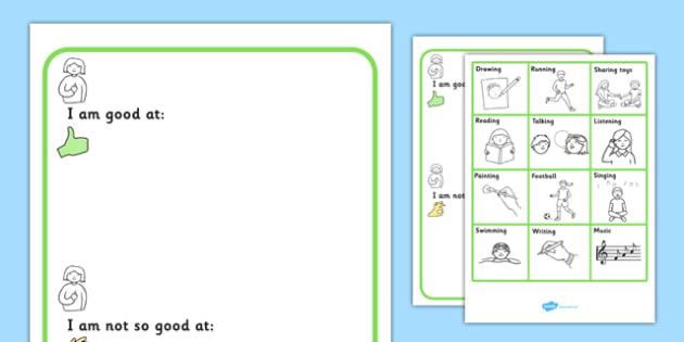 I Am Good At, I Am Not So Good At Worksheet With Symbols - SEN