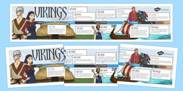 Viking Timeline - history, ks2 history, display, vikings, dates