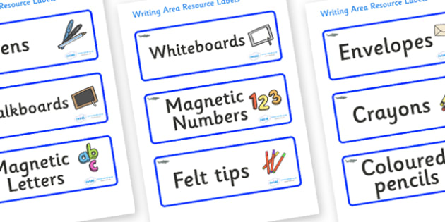 Shark Themed Editable Writing Area Resource Labels - Themed writing resource labels, literacy area labels, writing area resources, Label template, Resource Label, Name Labels, Editable Labels, Drawer Labels, KS1 Labels, Foundation Labels, Foundation