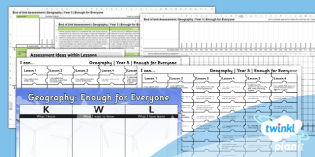 PlanIt - Geography Year 5 - Enough for Everyone Unit Assessment Pack - planit, geography, year 5, enough for everyone, assessment pack