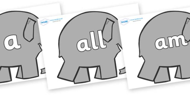 Foundation Stage 2 Keywords on Elephants to Support Teaching on Elmer - FS2, CLL, keywords, Communication language and literacy,  Display, Key words, high frequency words, foundation stage literacy, DfES Letters and Sounds, Letters and Sounds, spelli