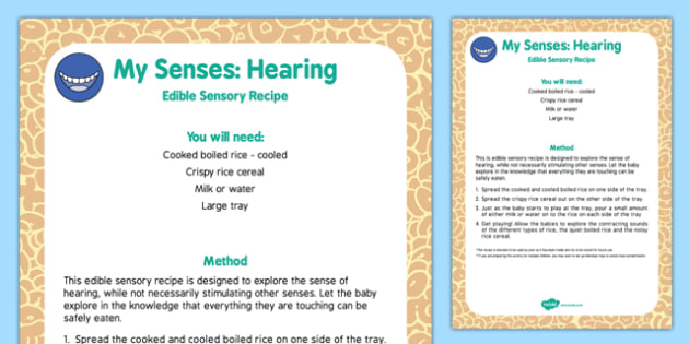 My Senses Hearing Edible Sensory Recipe