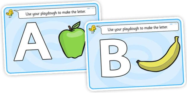 Alphabet Playdough Mats (uppercase) - Playdough mat, playdough resources, literacy, alphabet, letters, playdough
