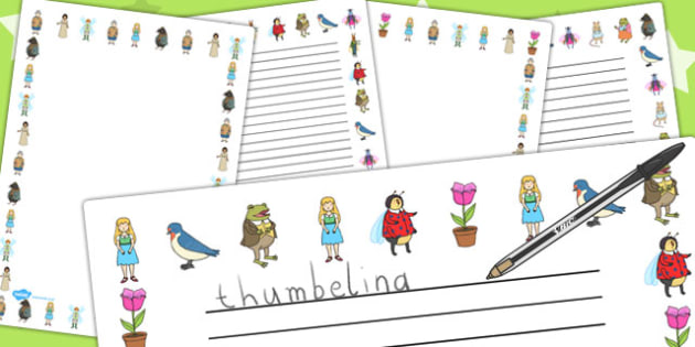 Thumbelina Page Borders - stories, story books, writing aid