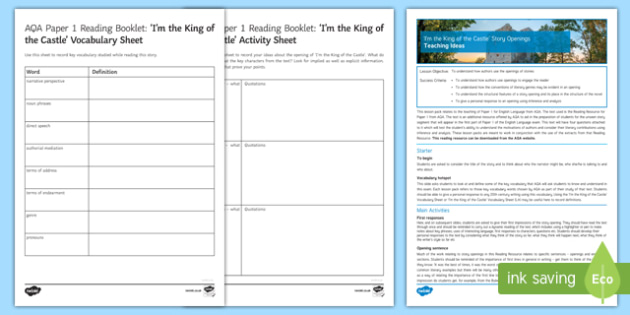 AQA P1 Reading Booklet Lesson Pack
