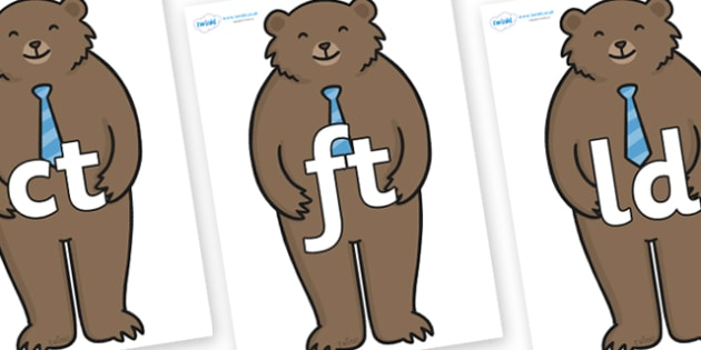 Final Letter Blends on Daddy Bear - Final Letters, final letter, letter blend, letter blends, consonant, consonants, digraph, trigraph, literacy, alphabet, letters, foundation stage literacy