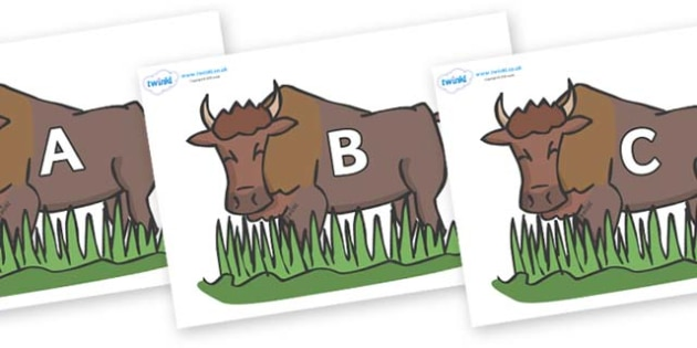 A-Z Alphabet on Bison - A-Z, A4, display, Alphabet frieze, Display letters, Letter posters, A-Z letters, Alphabet flashcards