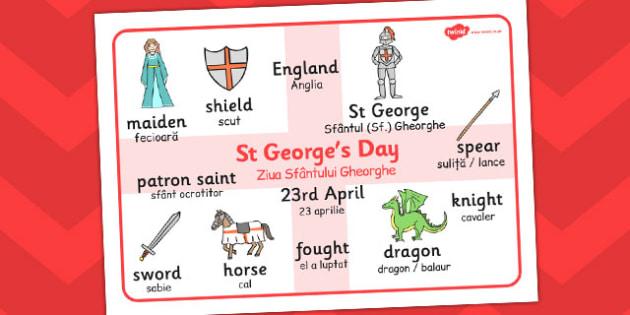 St. George's Day Word Mat Romanian Translation - Romanian, mat
