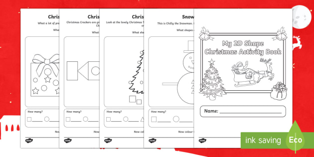 2D Shapes Christmas Activity Booklet