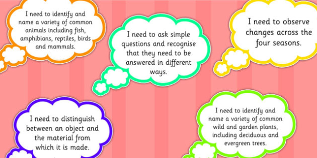 2014 Curriculum Year 1 Science Assessment I Need to Thought Bubble