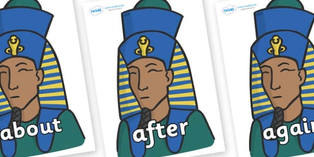 KS1 Keywords on Pharaohs - KS1, CLL, Communication language and literacy, Display, Key words, high frequency words, foundation stage literacy, DfES Letters and Sounds, Letters and Sounds, spelling