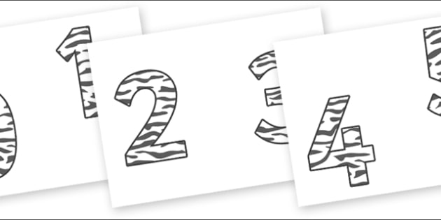 0-9 Display Numbers (Zebra Print) - Display numbers, 0-9, numbers, display numerals, display lettering, display numbers, display, cut out lettering, lettering for display, display numbers