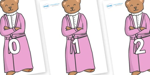 Numbers 0-50 on Mummy Bear - 0-50, foundation stage numeracy, Number recognition, Number flashcards, counting, number frieze, Display numbers, number posters