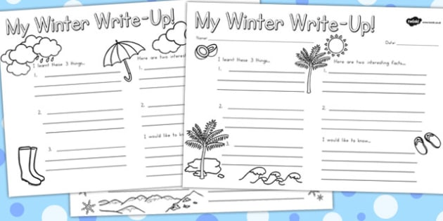 Winter Write Up Worksheet Temperate - writing aid, seasons