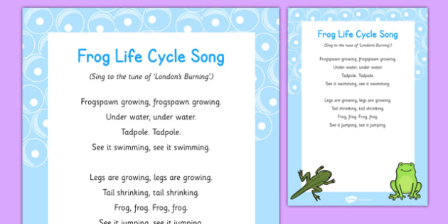 Frog Life Cycle Song - tadpole, frogspawn, life cycle, eyfs, early years, singing, frogs, spring, growth