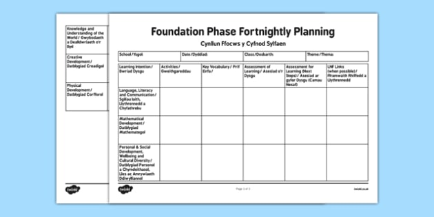 Foundation Phase Fortnightly Planning for 7 Areas of learning Bilingual Resource - Planning, Foundation Phase, 7 Areas of Learning, Fortnightly Planing