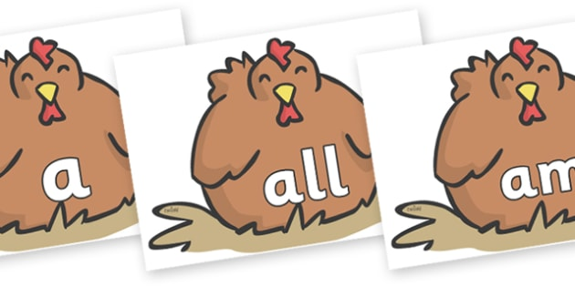 Foundation Stage 2 Keywords on Chickens - FS2, CLL, keywords, Communication language and literacy,  Display, Key words, high frequency words, foundation stage literacy, DfES Letters and Sounds, Letters and Sounds, spelling