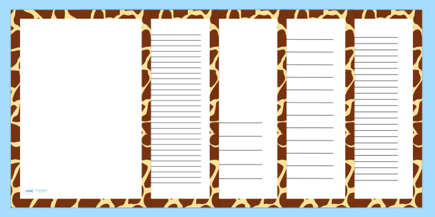 Giraffe Skin Page Borders - writing templates, writing frames