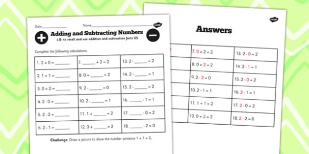 Number Facts to 2 Worksheet - number, facts, worksheet, 2, maths