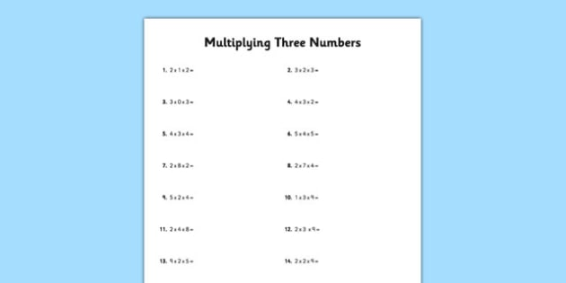 Multiply 3 Numbers Activity Sheet - commutative, reorder, order, worksheet