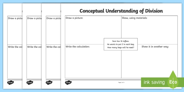 Conceptual Understanding of Division Activity Sheet - CfE, Numeracy, Division, word problems, assessment, worksheet