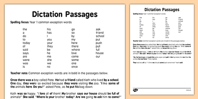 Dictation Passages Year 1 Exception Words Guide