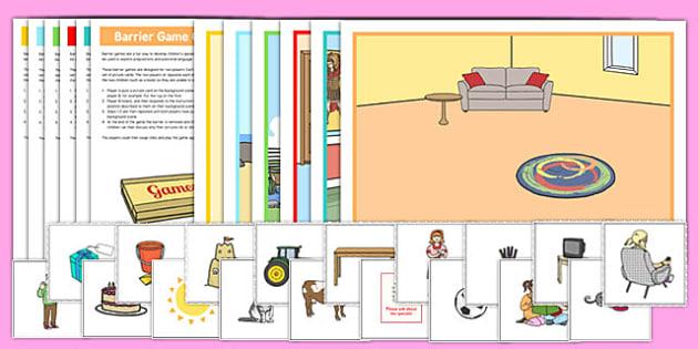 Everyday Scenes Barrier Game Resource Pack - language development, keywords, expressive skills, receptive skills, SLCN, barrier game, instructions