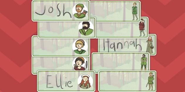 Robin Hood Editable Drawer Peg Name Labels - robin, hood, labels