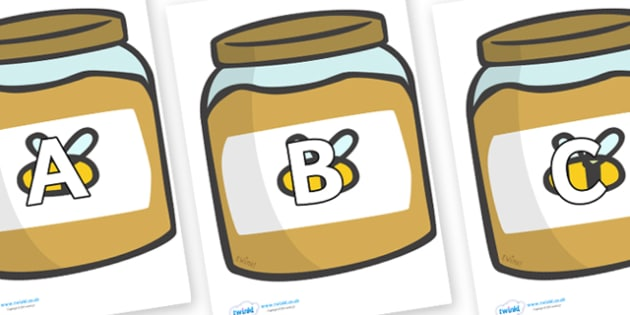 A-Z Alphabet on Honey - A-Z, A4, display, Alphabet frieze, Display letters, Letter posters, A-Z letters, Alphabet flashcards