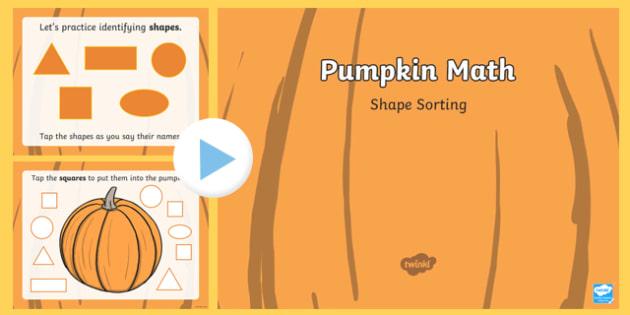 Pumpkin Math Shape Sorting Interactive PowerPoint