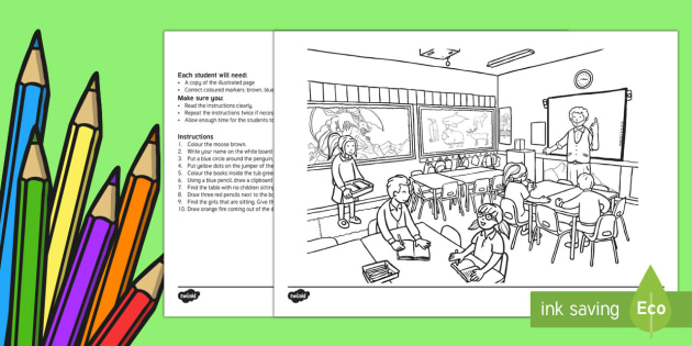 Back to School Listen and Colour Activity Sheet-Australia - Back to School, listen and colour, following instructions, listening skills, colouring,Australia, Wo