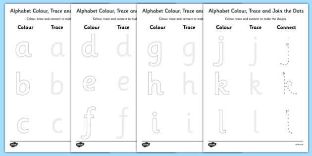 Alphabet Colour Trace and Join the Dots - alphabet, trace, join