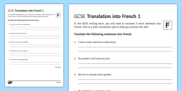 GCSE French: Translation into French - Foundation Tier Activity Sheet 1 - French, worksheet