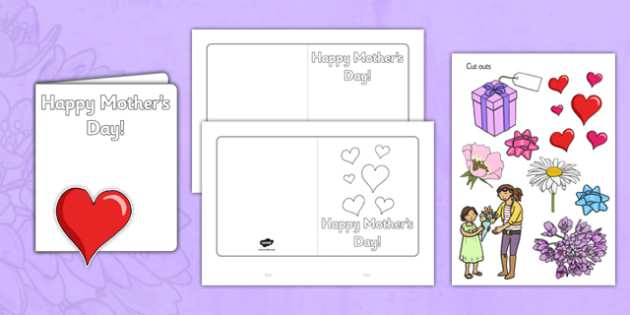 Design a Mother's Day Card - Mother's day blank card templates, design, Mother's day card, Mother's day cards, Mother's day activity, Mother's day resource, card, card template