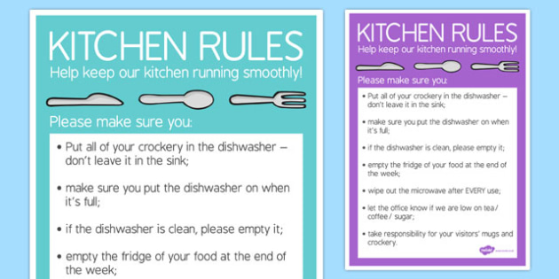 Kitchen Rules - Help Keep Our Kitchen Running Smoothly - kitchen rules