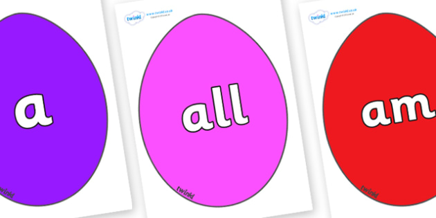 Foundation Stage 2 Keywords on Easter Eggs (Coloured) - FS2, CLL, keywords, Communication language and literacy,  Display, Key words, high frequency words, foundation stage literacy, DfES Letters and Sounds, Letters and Sounds, spelling