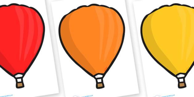 Editable Hot Air Balloons (Plain) - Hot Air balloon, balloons, editable, display balloon, A4