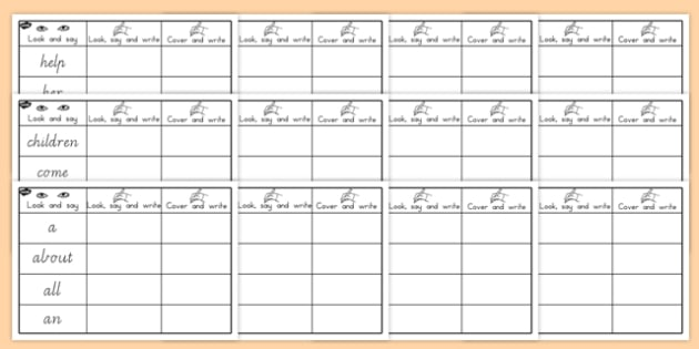 High Frequency Sight Words Practice Worksheets - sight words