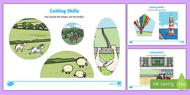 Trains Cutting Skills Activity Sheet