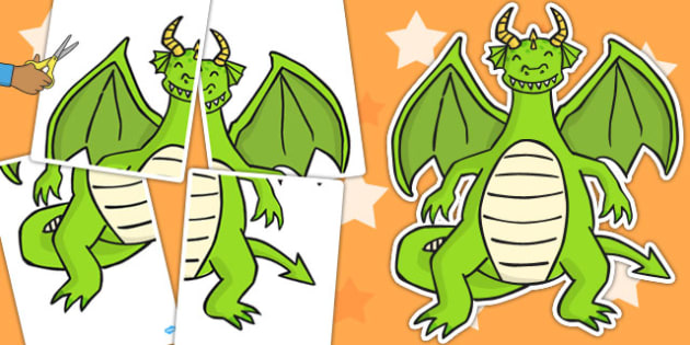 A2 Dragon Cut Out - dragons, activity, skills, motor, activities