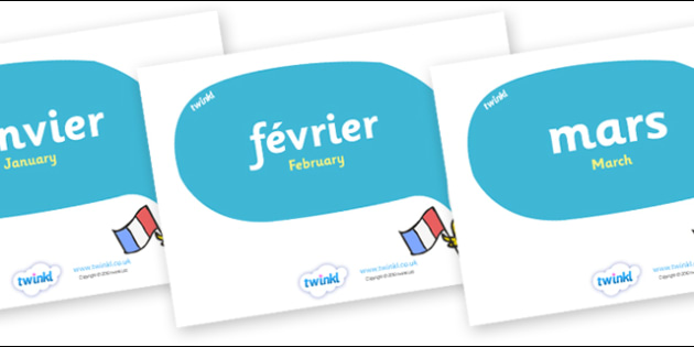 French Months of the Year in Speech Bubbles - Months poster, French, francais, Janvier, Fevrier, Mars, Avril, Months display, Months of the year