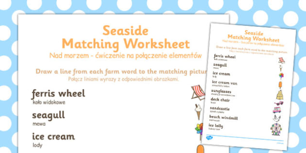 Seaside Themed Word and Picture Matching Worksheet Polish Translation - polish