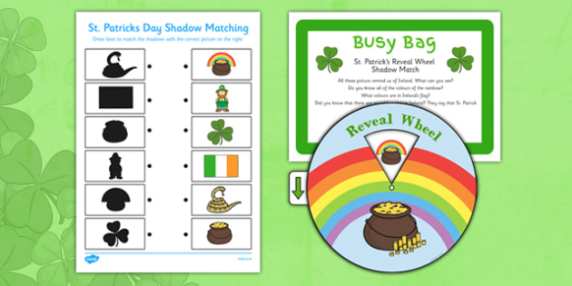 St Patrick's Reveal Wheel Shadow Match Busy Bag Prompt Card and Resource Pack - St Partick