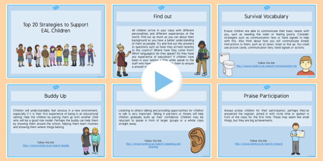 Top 20 Strategies to Support EAL Children PowerPoint - EAL strategies, EAL ideas, EAL support strategies