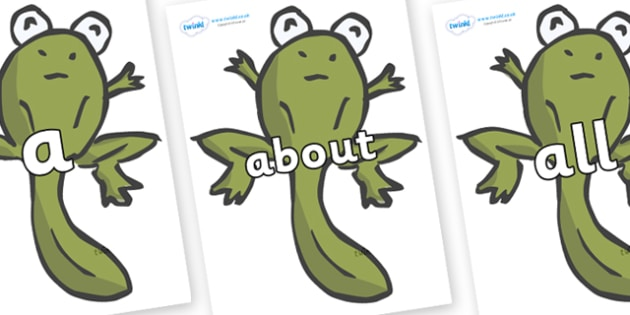 100 High Frequency Words on Froglets - High frequency words, hfw, DfES Letters and Sounds, Letters and Sounds, display words