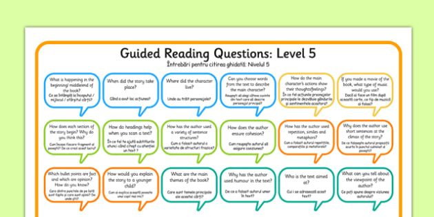 Levelled Guided Reading Questions Mats Romanian Translation - romanian, books, question, level
