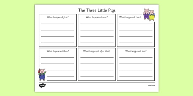 The Three Little Pigs Simple Story Writing Frame - the three little pigs, simple, story writing, writing frame
