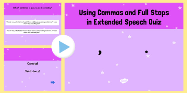 When to Use a Comma or a Full Stop SPaG Punctuation PowerPoint