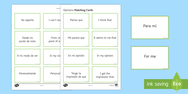 Opinion Phrases Matching Cards Spanish